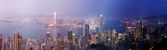 香港从天到夜 免版税图库摄影