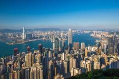 香港从峰顶的市视图 库存图片
