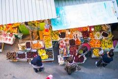 香港- 2018年1月13日:传统新鲜的frui顶视图  库存照片