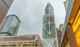 香港- 2014年5月11日:香港地平线在晚上 的treadled 免版税库存图片