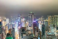 香港- 2014年4月:香港全景在晚上 使用一l 免版税库存图片