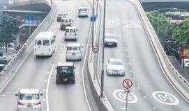 香港10月-2015 13日:中部区:交通和城市生活在这亚洲国际事务 图库摄影