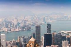 香港- 2014年4月15日:香港地平线在一个春日 H 免版税库存图片