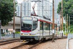 香港- 2015年12月03日:香港MTR光路轨 操作的系统 免版税图库摄影