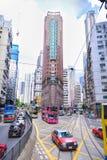 香港- 6月08 :在街道上的出租汽车2015年6月08日在Hon 免版税库存照片