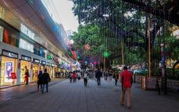香港- DEC 9日2016年:在尖沙咀街道上的霓虹灯 尖沙咀街道是一个非常普遍的购物地方在香港 免版税库存图片