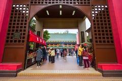 香港- DECTEMBER 17日2017年:车公Kung道士寺庙的香客在沙公锡,香港 道教是信仰PR一个特别方式  图库摄影