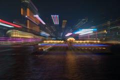 香港` s维多利亚港和商业海岛阐明了i 免版税库存照片