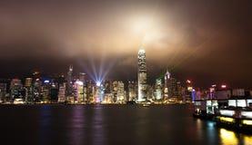 香港nightscape 库存照片