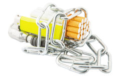 香烟、打火机和链子III 库存照片