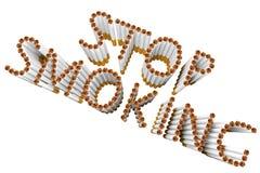香烟作为终止抽烟的字 免版税库存照片