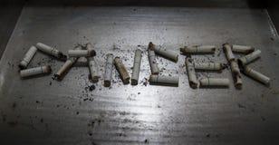 香烟可能导致疾病和死在金属背景 库存图片
