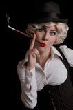 香烟帽子减速火箭的被称呼的妇女 免版税库存图片