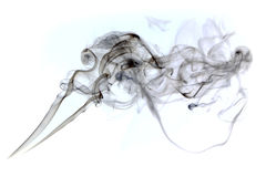 香烟烟云彩在白色背景的 库存照片