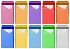 香烟箱子-被打开的五颜六色 图库摄影