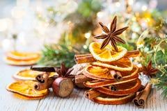 茴香烹调成份的圣诞节桂香加香料星形棍子 图库摄影