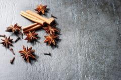 茴香烹调成份的桂香丁香以子弹密击搽粉的红色星形棍子姜黄黄色 库存照片