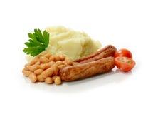 香肠、豆和饲料 图库摄影