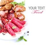 火腿、蒜味咸腊肠和烟肉 库存图片