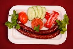 香肠二棵蔬菜 免版税库存图片