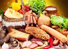 香肠产品品种。 免版税图库摄影