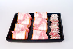 香肠和烟肉 库存照片
