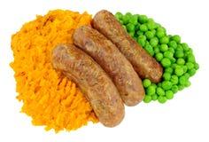 香肠和白薯饲料膳食 库存照片