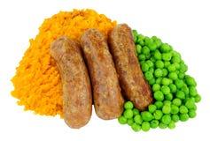 香肠和白薯饲料膳食 库存图片