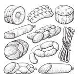 香肠和蒜味咸腊肠,可口肉剪影集合 库存例证