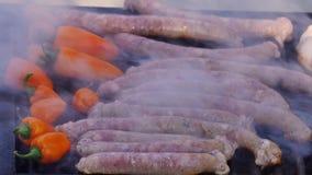 香肠和辣椒粉在烤肉格栅 影视素材