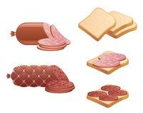 香肠和面包 免版税库存图片