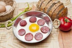 香肠炸锅用鸡蛋 免版税图库摄影