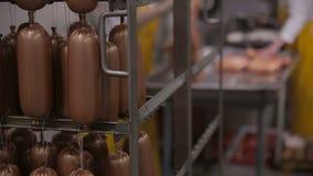 香肠的生产 工作者在肉食品处理工厂操作肉食品处理设备 影视素材