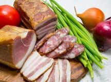 香肠,肉,菜,顶视图 图库摄影