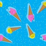 香草冰淇淋和锥体的抽象无缝的样式 r 皇族释放例证