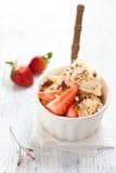香草冰淇淋用草莓 免版税库存图片
