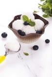 香草冰淇淋用蓝莓 库存图片