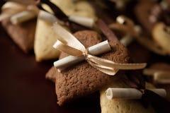 香草和巧克力曲奇饼 库存照片