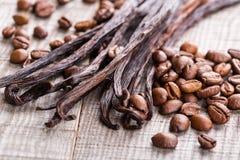 香草荚和咖啡豆 免版税库存照片