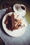 香草蛋糕和咖啡 库存图片