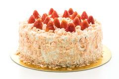 香草蛋糕点心用在上面的草莓 库存照片