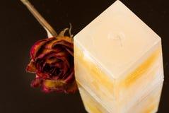 香草,桃子与干玫瑰色芽的闻的蜡烛 库存图片