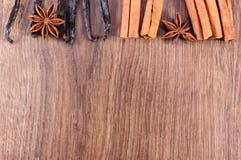 香草,肉桂条,木表面,文本的拷贝空间上的茴香 免版税图库摄影