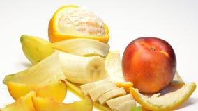 香蕉、桔子和桃子 图库摄影
