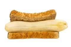 香蕉三明治 免版税库存照片