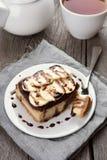 香蕉乳酪蛋糕 免版税图库摄影