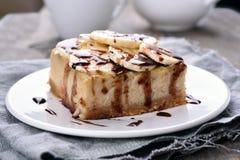 香蕉乳酪蛋糕 免版税库存照片