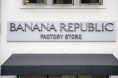 香蕉共和国商店外部 香蕉共和国是美国跨国公司拥有的衣物和辅助部件零售商 免版税库存照片