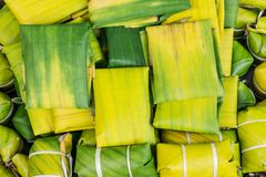 香蕉叶子用途泰国样式点心 免版税图库摄影