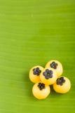 香蕉叶子的泰国沙漠 库存图片